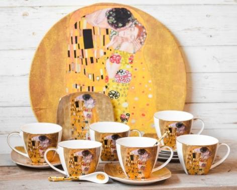 Set 6 cesti cafea + tava Klimt - Auriu #2 0
