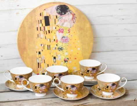 Set 6 cesti cafea + tava Klimt - Auriu 0