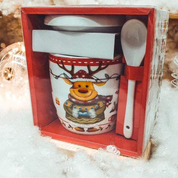 Set cana de ceramica cu lingurita si capac model Ren multicolor 300 ml 0