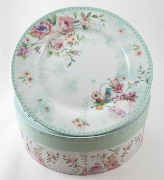 Set farfurii desert realizate din ceramica in cutie cadou – Design Rose – Verde 0