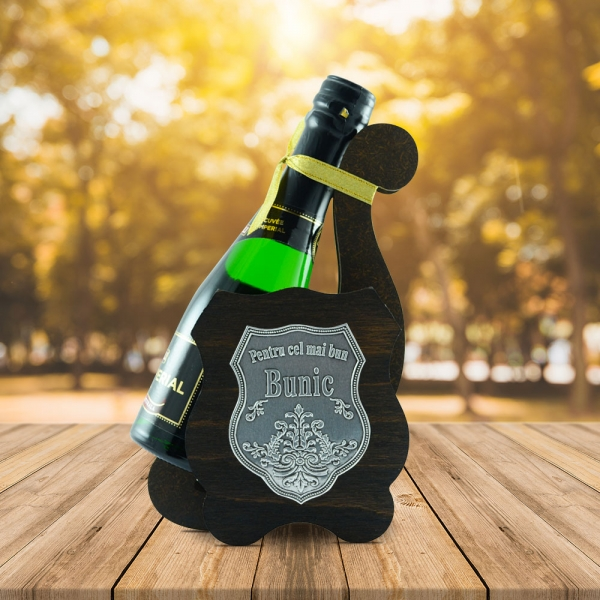Sticla De Vin Spumant + Suport - Cel Mai Bun Bunic - 0.2L 0