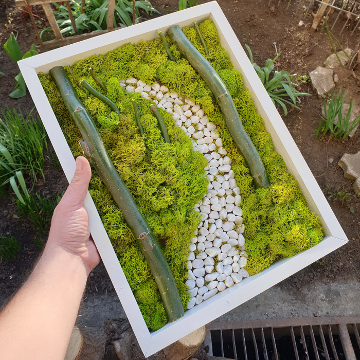 Tablou de Perete Peisaj din Licheni si Lemn 0