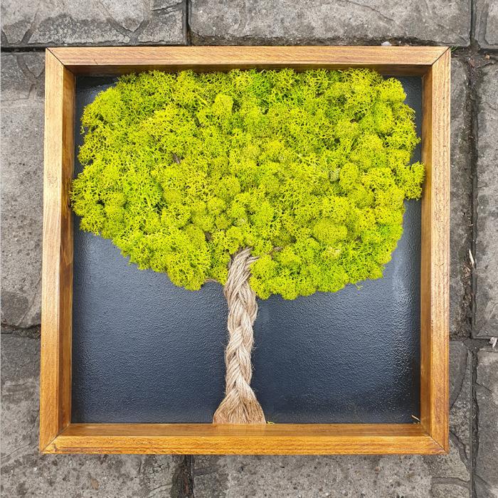 Tablou de Perete Tree din Licheni si Lemn 0