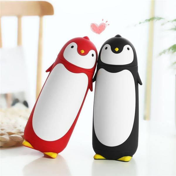 Termos Pinguin, Sticla cu Husa din Silicon, Capac cu Filet din Plastic 300 ml 3
