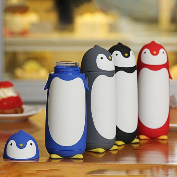 Termos Pinguin, Sticla cu Husa din Silicon, Capac cu Filet din Plastic 300 ml 1