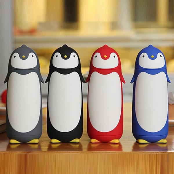 Termos Pinguin, Sticla cu Husa din Silicon, Capac cu Filet din Plastic 300 ml 0
