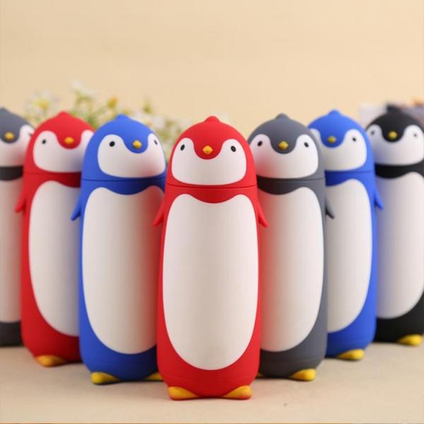 Termos Pinguin, Sticla cu Husa din Silicon, Capac cu Filet din Plastic 300 ml 4