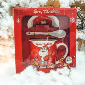 Set cana cu farfurie si lingura realizata din ceramica in cutie – Design Merry Christamas