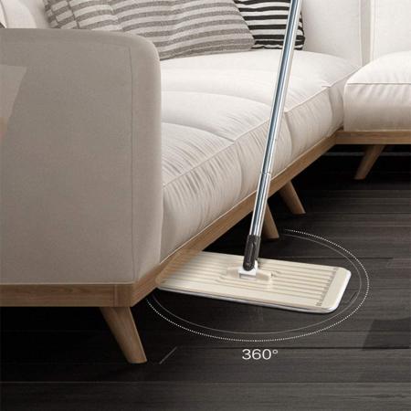 Mop de pardoseală pliabil pentru curățarea locuinței, Mop cu cap rotit la 180° cu tijă din oțel inoxidabil [2]