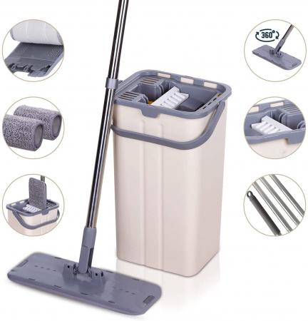 Mop de pardoseală pliabil pentru curățarea locuinței, Mop cu cap rotit la 180° cu tijă din oțel inoxidabil [1]