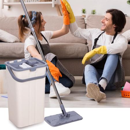 Mop de pardoseală pliabil pentru curățarea locuinței, Mop cu cap rotit la 180° cu tijă din oțel inoxidabil [3]