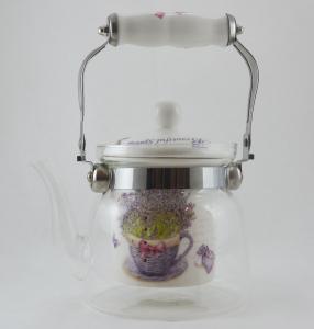 Ceainic realizat din sticla- Design Lavanda