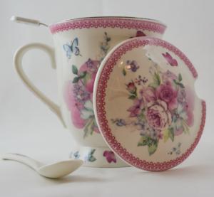 Cana cu infuzor realizata din ceramica pictata – Design Flori de primavara – Roz1