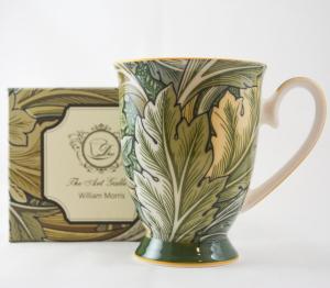 Cana realizata din ceramica in cutie cadou – Design cu frunze0