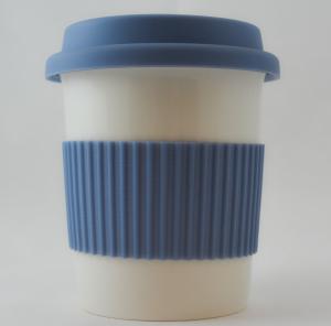 Pahar ceramica cu capac silicon albastru