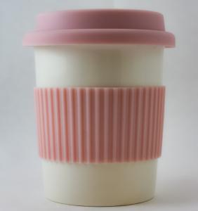 Pahar ceramica cu capac silicon roz