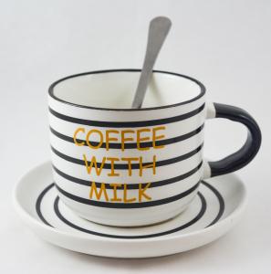 Ceasca realizata din ceramica cu farfurie si lingurita – Design inscriptionat