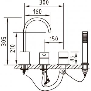 Baterie pentru cada MIKURA 4 piese (montaj pe cada)1