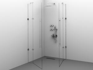 Cabină de duș Alux patrată 90x90 cu 2 uși - sticlă securizată0