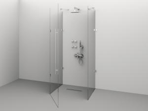 Cabină de duș Alux Premium de tip U 100x80 - sticlă securizată0