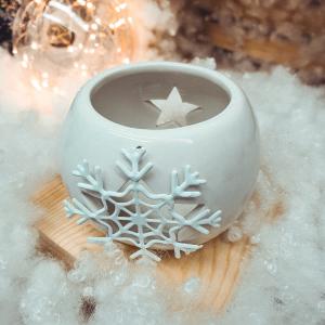Candela rotunda realizata din ceramica – Design fulg de nea (Diverse culori)0