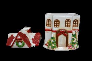 Cutie prajituri tip casuta rosie din ceramica de Craciun2