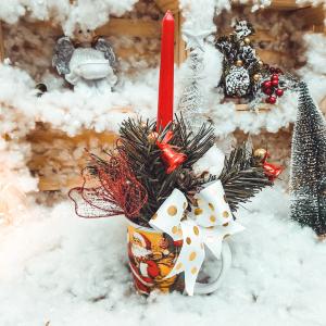 Decoratiune craciun in cana cu lumanare - Model 20