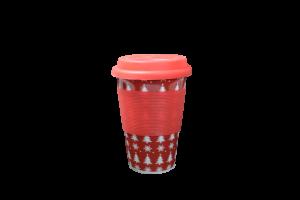 Pahar ceramica cu capac silicon - Design craciun1