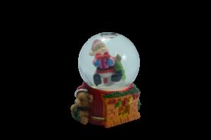 Glob sticla craciun - Design mos craciun cu ursulet