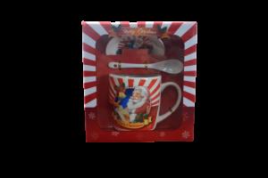 Cana de craciun cu farfurie si lingurita realizata din ceramica – Design Craciun