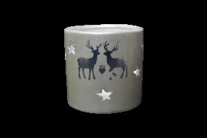 Candela rotunda realizata din ceramica – Design cu reni si stelute
