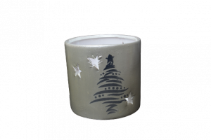 Candela rotunda realizata din ceramica – Design cu brad si stelute [1]
