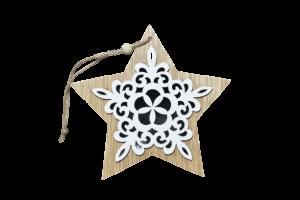 Decoratiune pentru geam realizata din lemn – Forma Stea