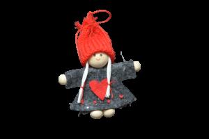 Decoratiune de agatat pentru Craciun realizat din pasla si material textil – Copil cu caciula – 3 modele