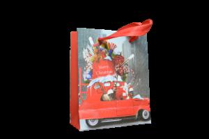 Punga de cadou craciun mica - Design masinuta cu cadouri