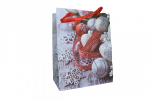 """Punga pentru cadouri – Design cu globuri si inscriptia """"Merry Christmas"""""""