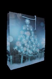 Punga pentru cadouri mare - Design cu fulgi si cadouri