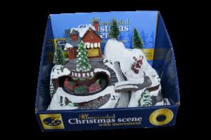 Decoratiune cu led pentru sarbatorile de iarna realizata din rasina – Casuta cu zapada. brad si Mos Craciun1