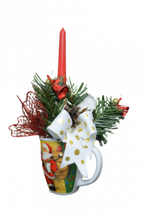 Decoratiune craciun in cana cu lumanare - Model 21