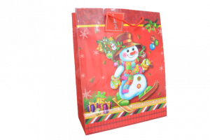 Punga de cadou din hartie laminata - Design Mos Craciun1