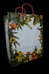 Punga pentru cadouri din hartie - Design cu crengi de brad0