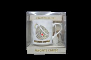 Set cana cafea + lingura in cutie