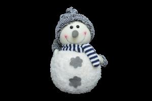 Figurina decorativa din material textil - Om zapada cu fular si caciula1