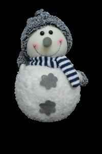 Figurina decorativa din material textil - Om zapada cu fular si caciula0