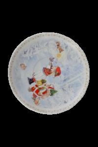 Ceasca cu farfurie de craciun din ceramica in cutie cadou – Design fetita cu Mos Craciun4