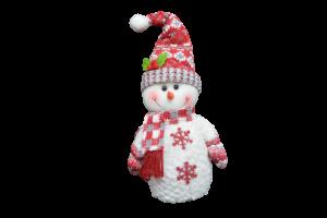 Figurina decorativa din material textil - Om zapada rosu cu alb1