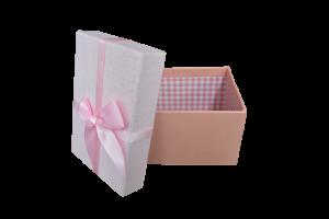 Cutie pentru cadouri roz cu fundita2