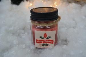 Lumanare cu aroma de scortisoara in mini borcan de sticla0