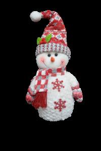 Figurina decorativa din material textil - Om zapada rosu cu alb0