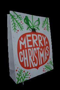 Punga pentru cadouri alba - Design Merry Christmas1